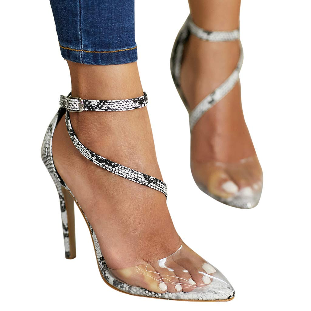 Moonker Women Girls Fashion Platform Stiletto High Heels Dress Sandals Ladies Close-Toe Snake Party Shoes
