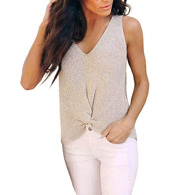 0ba0a4ec8867c4 Stat wuvi Women s Sexy Knitwear Tank Tops Casual Sexy V Neck Solid  Sleeveless Knotted Vest T-Shirt at Amazon Women s Clothing store