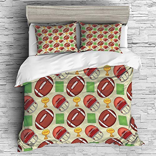 3 Pieces (1 Duvet Cover 2 Pillow Shams)/All Seasons/Home Comforter Bedding Sets Duvet Cover Sets for Adult Kids/Double/Football,Equipment Icons Arena Helmet Ball Trophy Cup Winning the Championship,Da