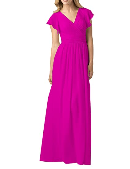 d3457664a84 WuliDress Women s V Neck Hot Pink Bridesmaid Dresses Long with Short Sleeve  Ruched Formal Party Gown