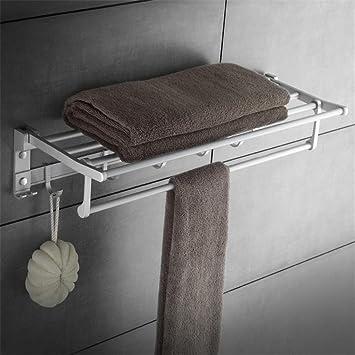 GUANSIJIE Espacio montado en la Pared de Aluminio Porta-Toallas Giratorio Cuarto de baño Toallero de Cocina Barra de riel Simple/Doble Polo Rustproof ...