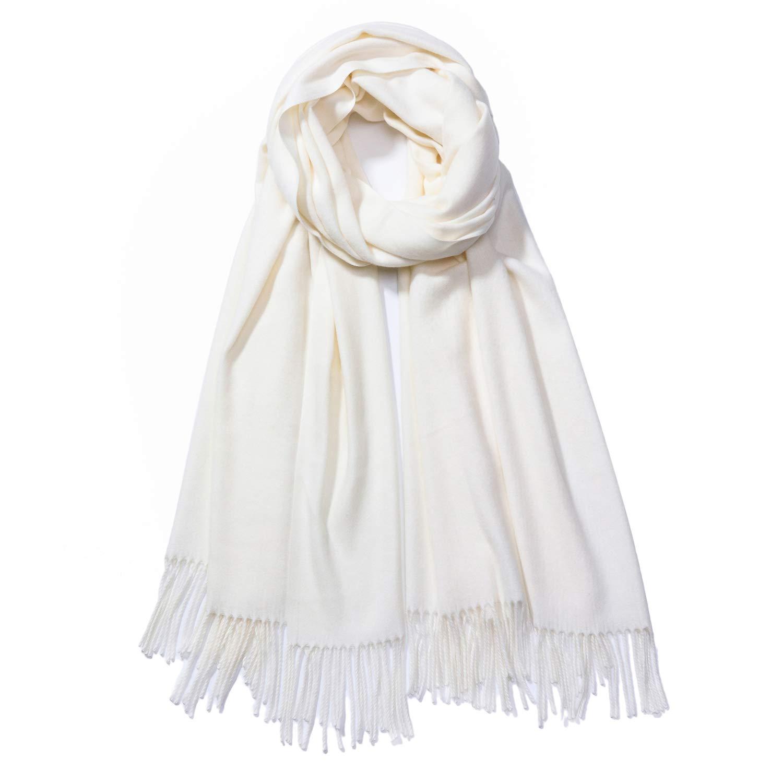 Premium Large Oversized 78''x28'' Soft Cashmere Feel Silky Pashmina Shawl Wrap Scarf (Cream)