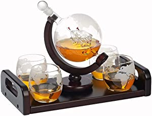 Bezrat Etched Globe Whiskey Decanter Set + 4 Whisky Glasses 10 Oz. on Rich Wood Mahogany Base Tray with 2 Side Handle - Gift Packaging - Antique Ship Whiskey Dispenser for Liquor Scotch Bourbon Vodka
