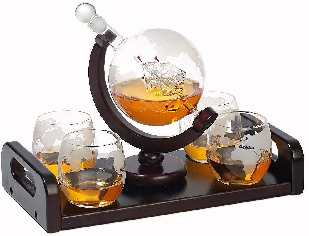 Etched Globe Whiskey Decanter Set + 4 Whisky Glasses on Rich Wood Mahogany Base Tray with 2 Side Handle - Gift Packaging - Antique Ship Whiskey Dispenser for Liquor Scotch Bourbon Vodka 850ML by Bezrat