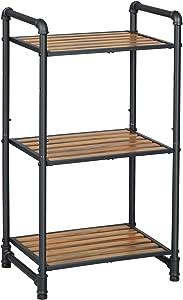 SONGMICS Bathroom Shelf, 3-Tier DIY Storage Rack, Industrial Style Extendable Plant Stand with Adjustable Shelf, for Living Room, Bathroom, Balcony, Kitchen, Rustic Look UBSC23BX