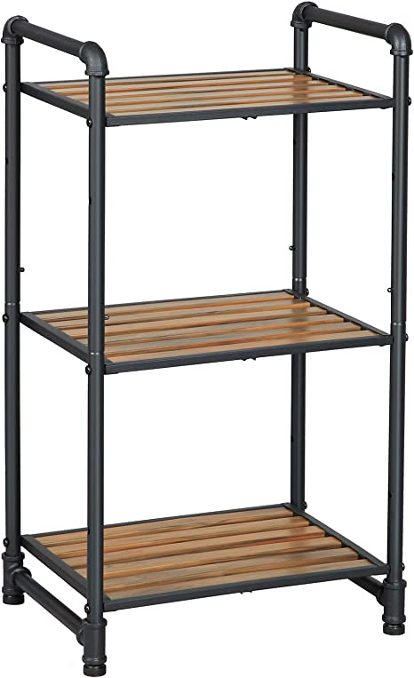 VASAGLE Bathroom Shelf, 3-Tier DIY Storage Rack, Industrial Style Extendable Plant Stand with Adjustable Shelf, for Living Room, Bathroom, Balcony, Kitchen, Rustic Look UBSC23BX best bathroom storage solutions