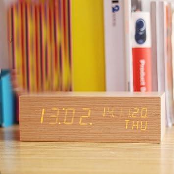 KHSKX LED Uhr, kreative Holz Uhren, elektronische leuchtende ...