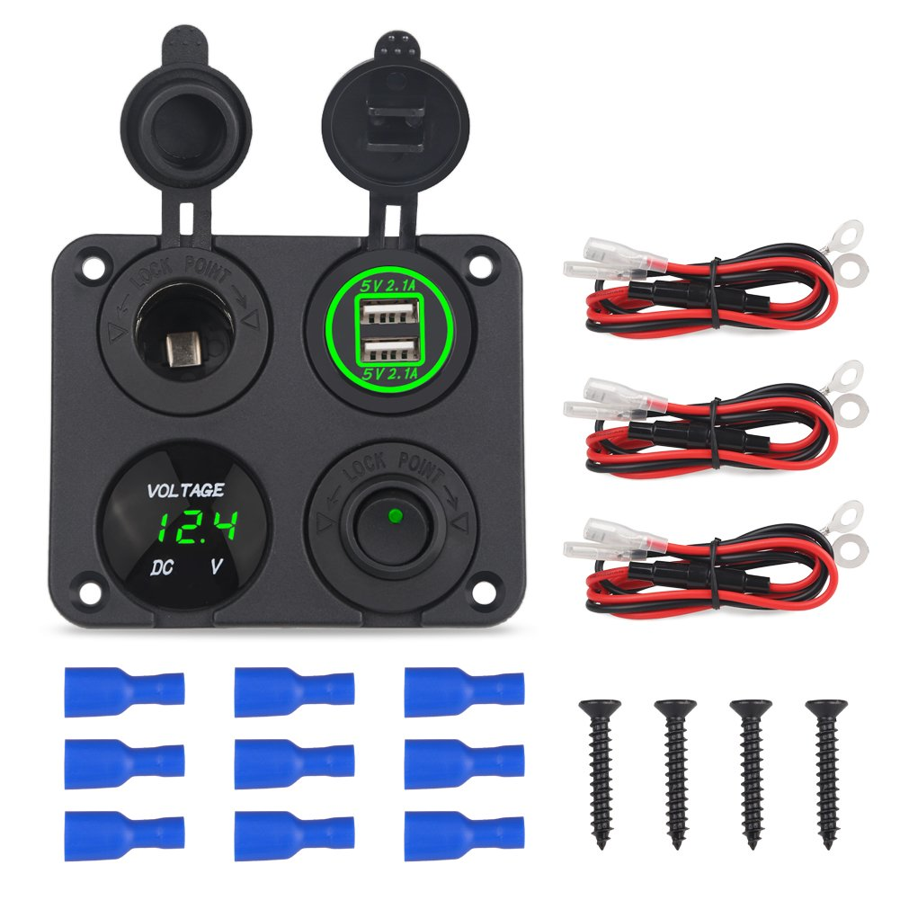 Two Hole Green WATERWICH 2 3 4 Hole Marine Illuminated Toggle Rocker Switch Panel Waterproof Ignition Rocker Switch 12V-24V Volt Meter for RV Car Boat Trailer Vehicles Truck Yacht SUV