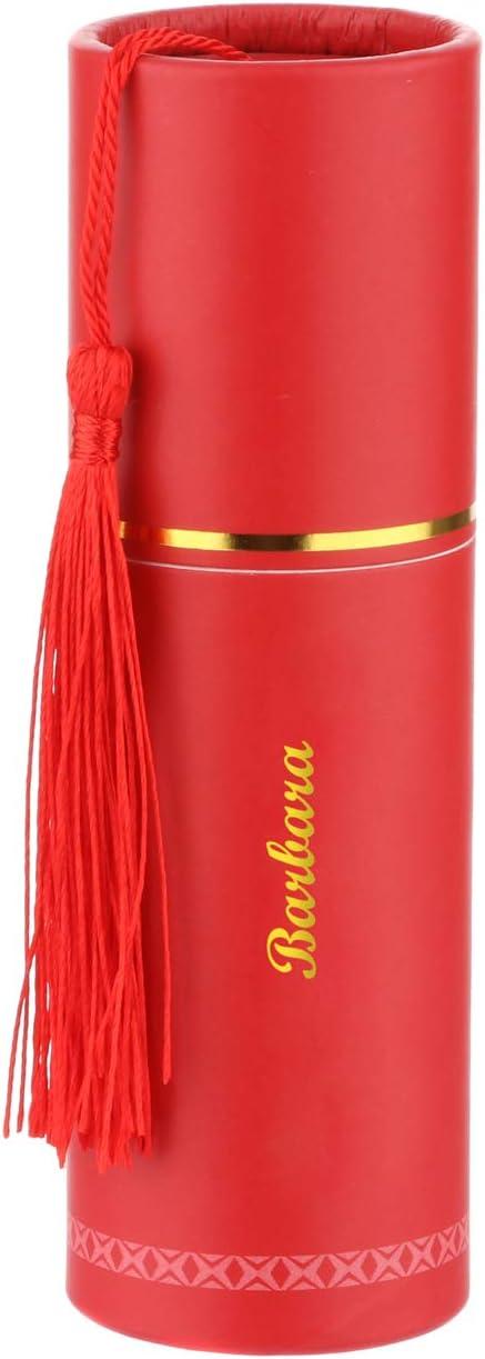 2,6x10 cm Rosso Cornetto portafortuna con nome Barbara in ceramica