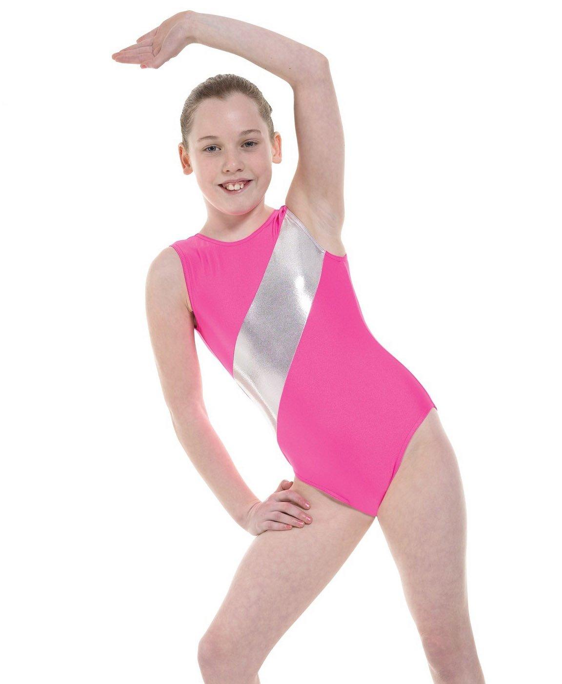 df955bc94 Girls Gymnastics Leotard Sleeveless Lycra with Silver Stripe GYM5 ...