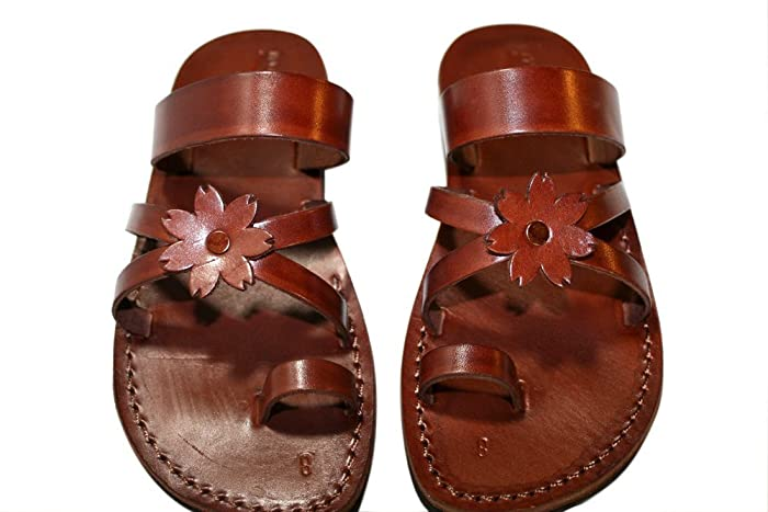 3a9ce779b Image Unavailable. Image not available for. Color  Flower-cross Leather  Sandals For Men   Women - Handmade ...