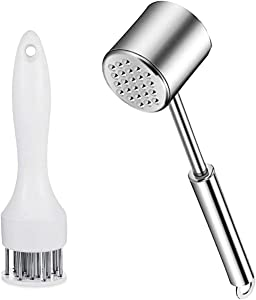 Meat Tenderizer Set - Maximal Protection for Hands: Dishwasher Safe Heavy Stainless Steel Meat Mallet and 21-Needle Meat Blade, Tenderizing Steak, Beef, Lamb, Chicken and Minced Meats.
