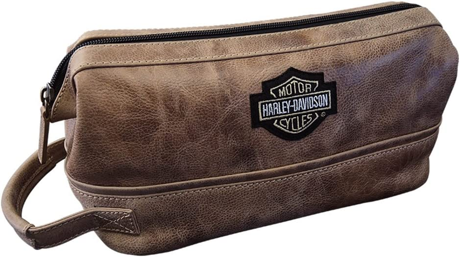 Harley Davidson Men s Leather Toiletry Kit, Palomino