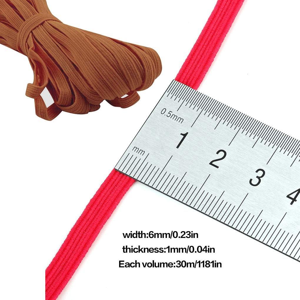 UHAoo 6mm 30 Metri Elastica Clothes Banda Pantaloni Cucito Fai da Te Riparazione Solido Colore Poliestere Elastico Banda