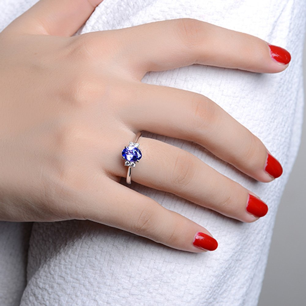 Succinct 14k White Gold Natural Gemstone Tanzanite and Diamond ...