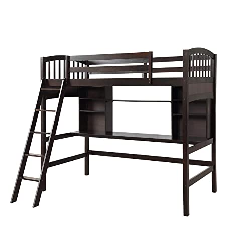 Amazon.com: Twin Loft Bed with Desk,JULYFOX Pine Wood Loft ...