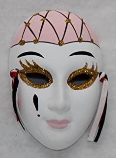 Porcelain Mask Whitewith Pink and Gold  Size4 hx3 wx1.  sc 1 st  Amazon.com & Amazon.com: Porcelain Mask Pierrot  White Color with Tear Drops ...
