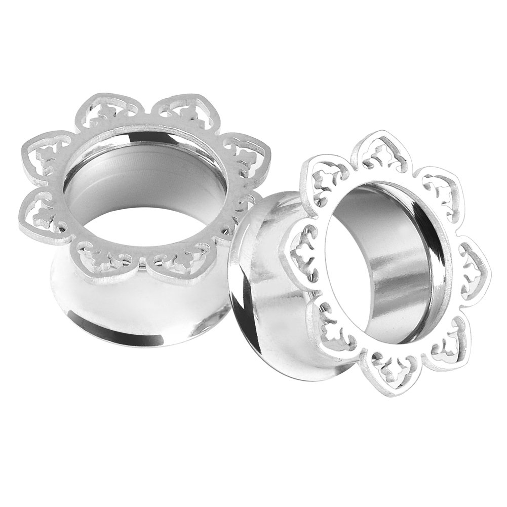 D& M Jewelry Pair/2Pairs Stainless Steel Lotus edge Fresh Flared Tunnels Ear Plugs Stretcher Expander Body Piercing Jewelry Qianmin Co.Ltd XS126A-10MM