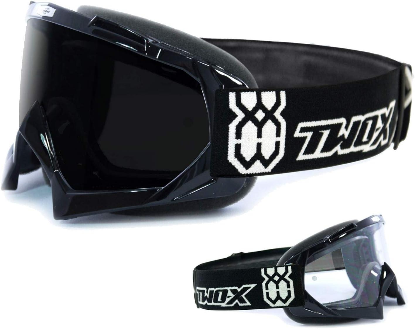 Two X Race Crossbrille Schwarz Glas Getönt Schwarz Grau Mx Brille Motocross Enduro Motorradbrille Anti Scratch Mx Schutzbrille Auto