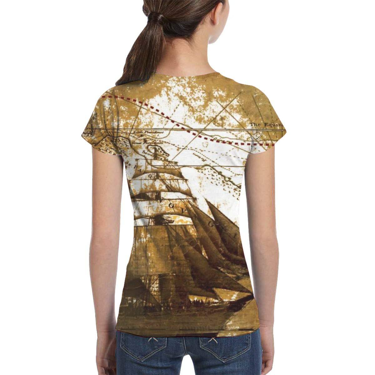 Fashion Blouse Clothes Girls Short Sleeve Nautical Vintage Sailing Pirate Ship T-Shirts XS-XL