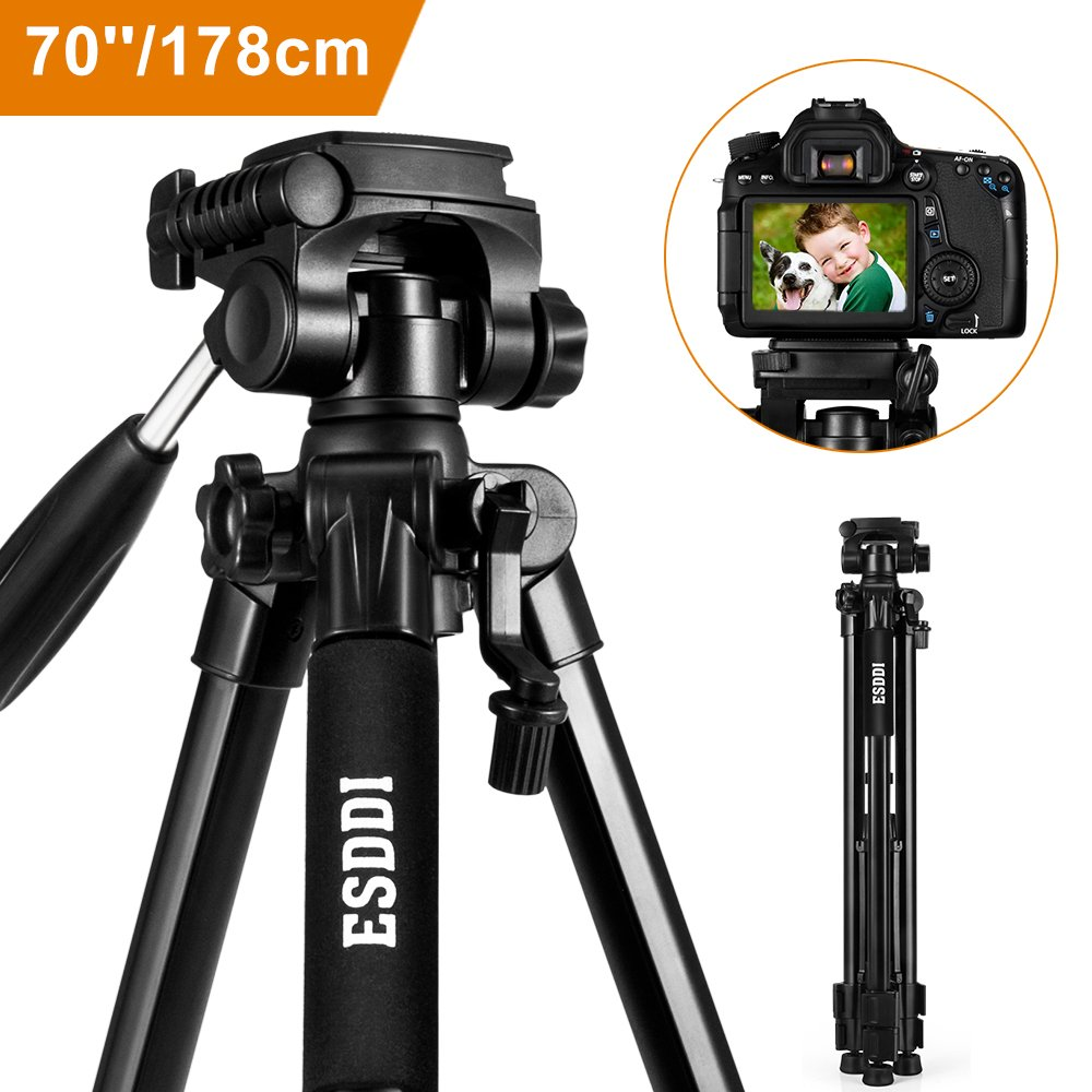 Camera Tripod ESDDI 70'' Compact Aluminum Lightweight Tripod for DSLR SLR Canon Nikon Sony Olympus DV with Carry Bag