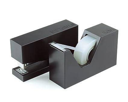 Lexon LD115N - Set de grapadora y dispensador de celo, color negro