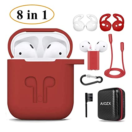 on sale 05925 d3f6a Airpods Case,AIOZX 8 in 1 Airpod 1 & 2 Accessories Set Protective Silicone  Cover Skin EVA Box Compatible Apple Airpods with Holder/Anti-Lost ...