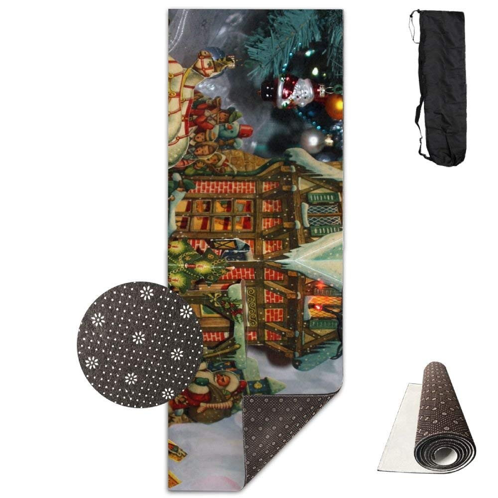 House Santa Claus Sleigh Presents Tree New Year Garland ECO Aqua Power Kinematic Iyengar Kundini Hot Pilates Gymnastics Hatha Yoga Mat and Other Mats That Need to Be Performed On The Ground