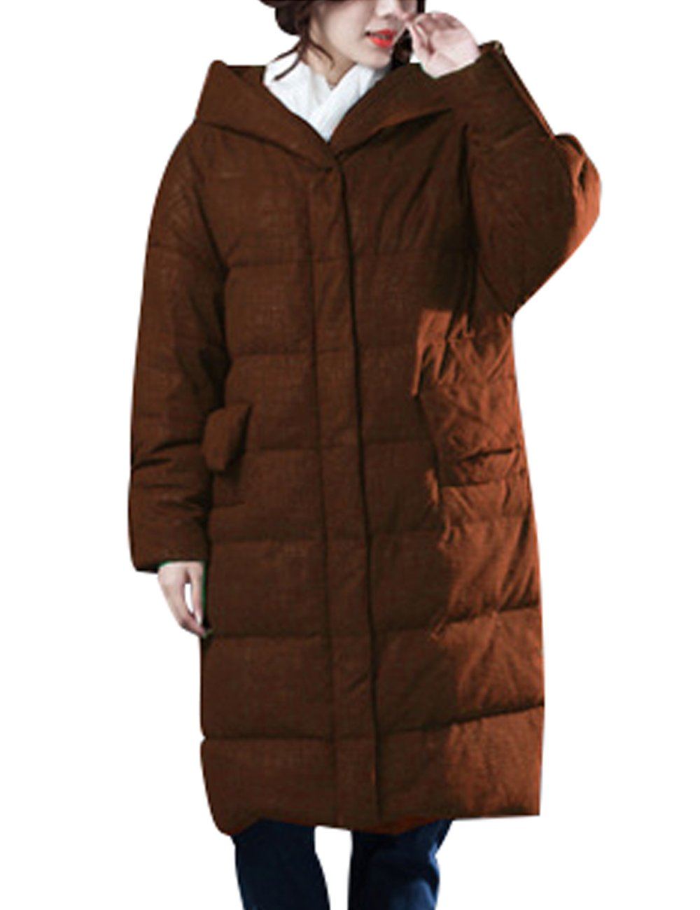 Zoulee Women's Winter Thick Warm Down Parka With Hooded Front Two Pockets Style 1 Caramel Colour XL