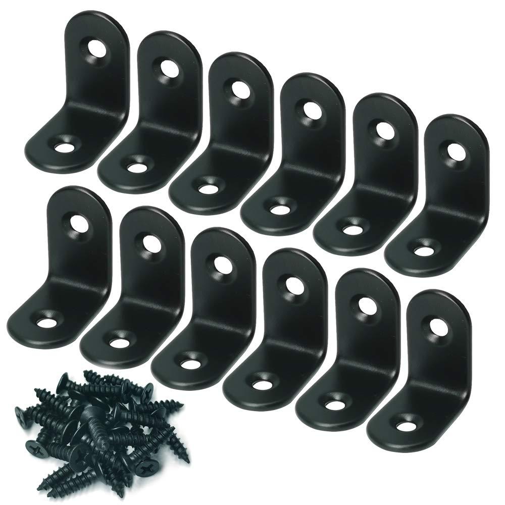 Corner Brace Alamic Right Angle Bracket Stainless Steel Black Corner Braces Joint Right Angle Bracket Shelf Bracket with Screws 20 x 20mm 12 Pcs