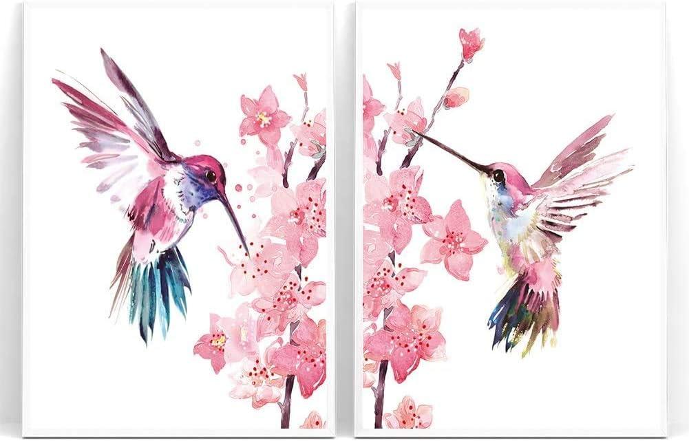 UKART - Juego de 2 lienzos enmarcados con colibríes, colibríes en el Sakura arte de pared, arte de flor de cerezo para la niña jardín de infantes decoración de residencia (marco, 8 x 10 pulgadas)
