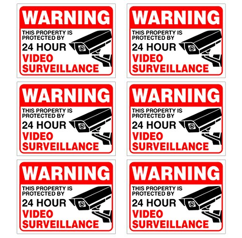 (Set of 6) Warning - 24 HR Video Surveillance Sign - 3 x 4 - 4 Mil Vinyl - LAMINATED For Ultimate Protection & Durability - Self Adhesive Decal - UV Protected & Weatherproof - Heavy Duty
