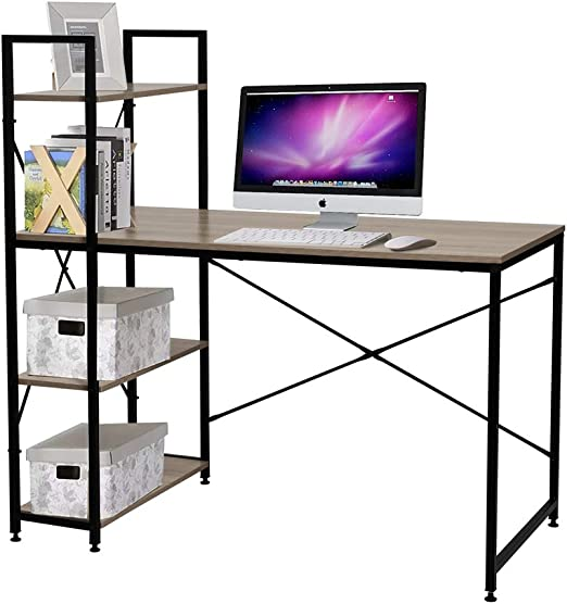 Bestier Computer Desk with Shelves,Writing Desk Study Table Office Desk  with Shelves Workstation Home Office Desk with Bookshelf for Study Room, ...