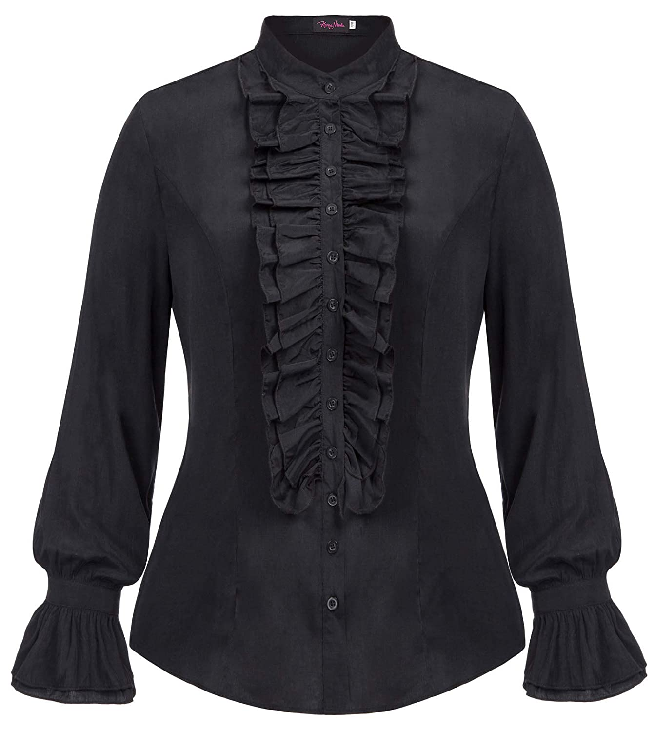 Steampunk Plus Size Clothing & Costumes Hanna Nikole Women Plus Size Victorian Gothic Ruffled Lotus Shirt Blouse Tops $23.99 AT vintagedancer.com