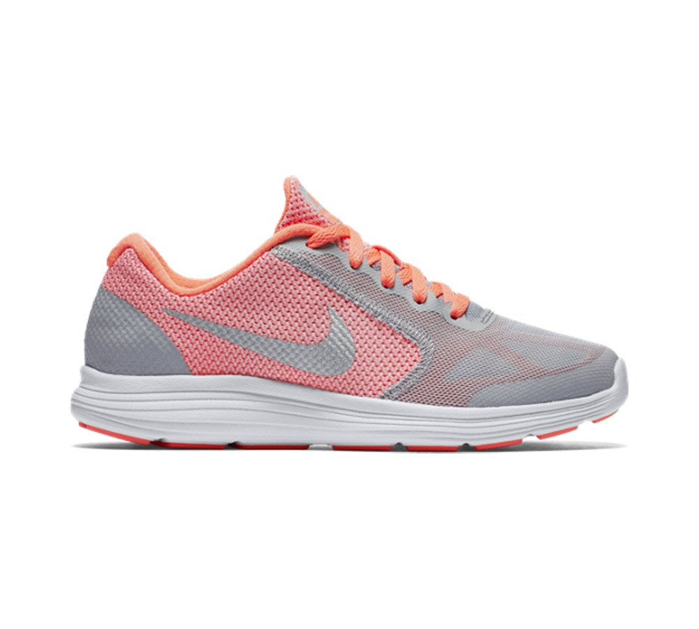 NIKE ' Revolution 3 (GS) Running Shoes B00YQ3ZMCI 5 M US Big Kid|Bright Mango/Metallic Silver/Wolf Grey