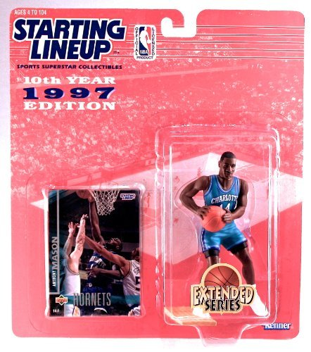 ANTHONY MASON / CHARLOTTE HORNETS * 1997 EXTENDED SERIES * NBA Starting Lineup Action Figure & Exclusive NBA Collector Trading Card