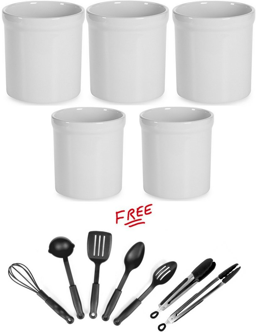 Pack of 3 Ceramic Utensil Holder Crock in Black Finish, Buy More! Save More! and with FREE!