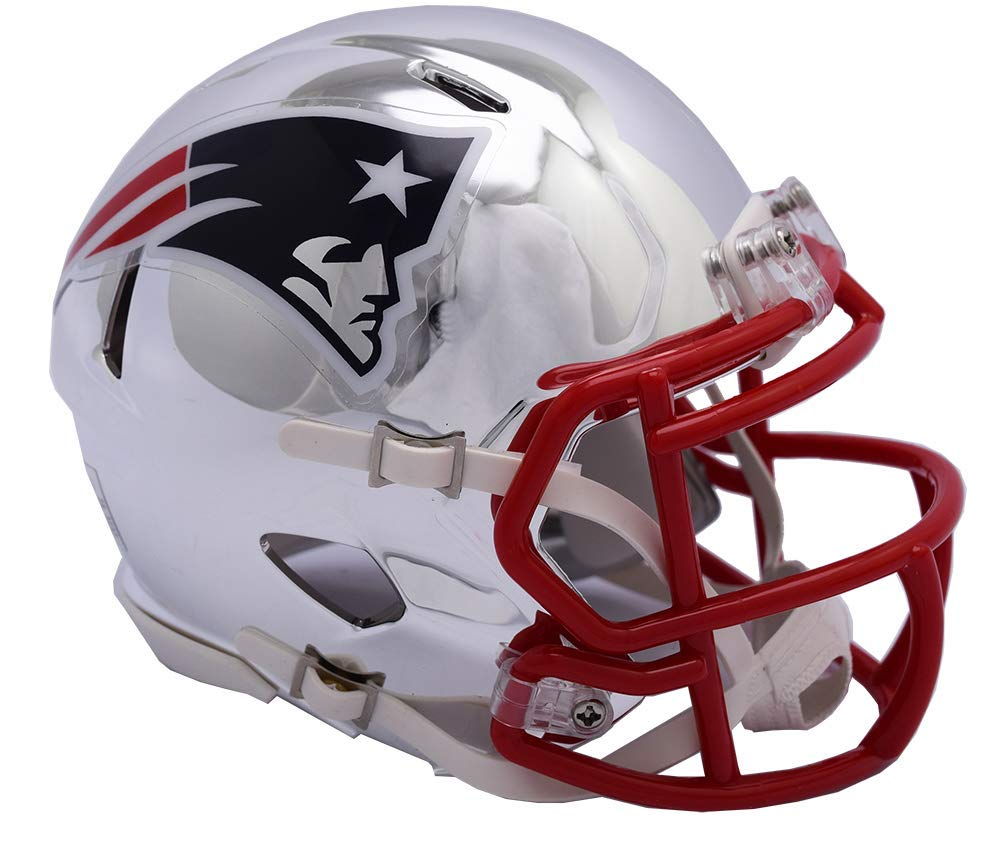 New England Patriots - Chrome Alternate Speed Riddell Mini Football Helmet - New in Riddell Box