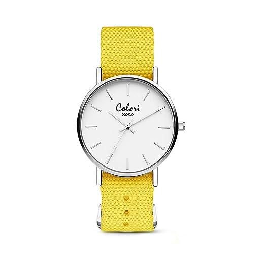 Colori XOXO 5-COL551 - Horloge - nato band - geel - ø 36 mm: Amazon.es: Relojes