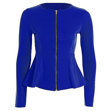 35fd4b24259f Fast Fashion Frauen Top Lange Ärmel Plain Zip Schößchen Blazer Jersey Jacke