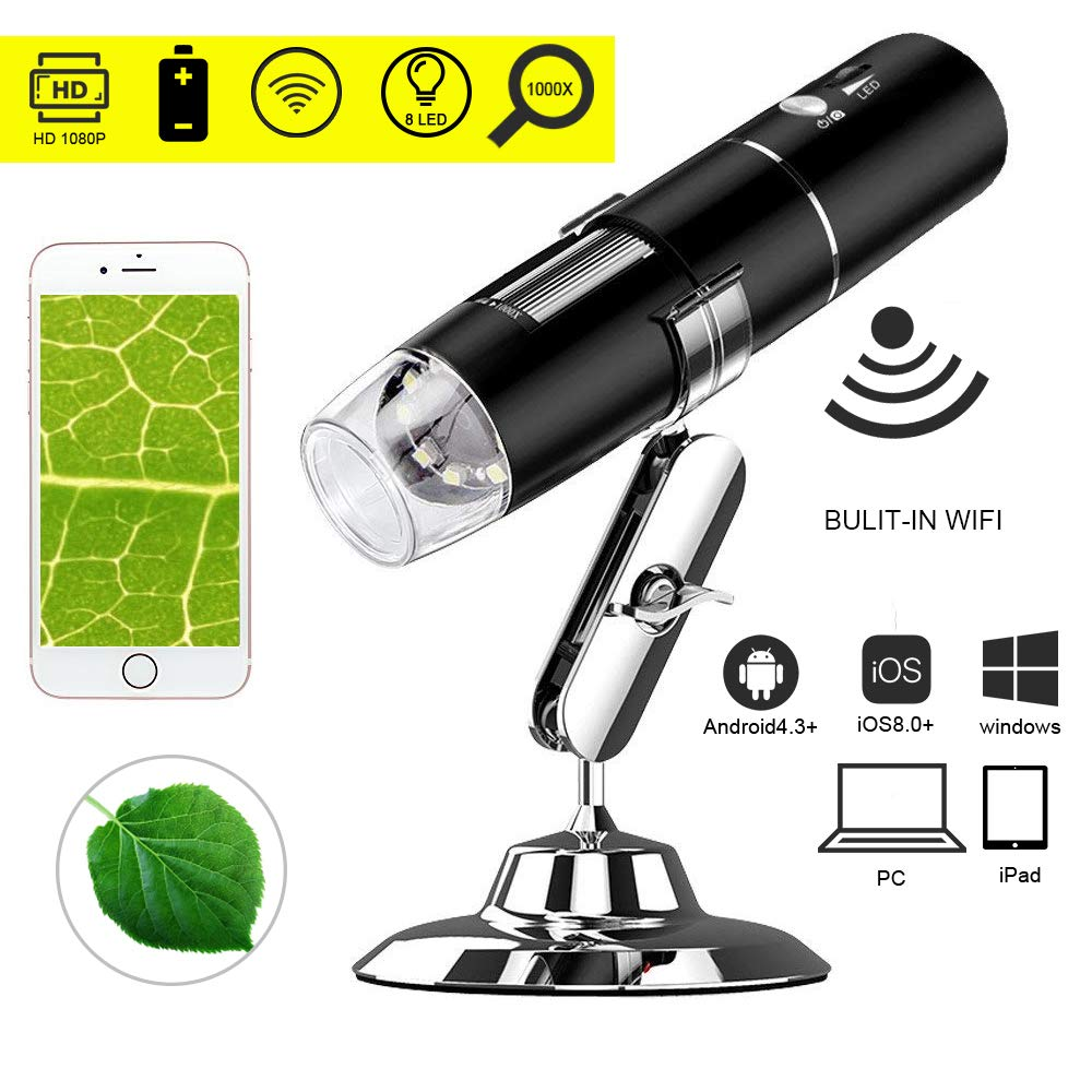 WiFi USB Digital Microscope,Leboo 50x to 1000x Magnification Mini Pocket Handheld Wireless Endoscope with 8 LED for iPhone/iPad/Android Phone/Windows/Mac