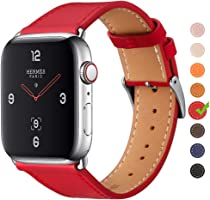 Finetop Compatible with Apple Watch Band 38mm 40mm 42mm 44mm, Premium Genuine Leather Replacement Band iWatch Strap with...
