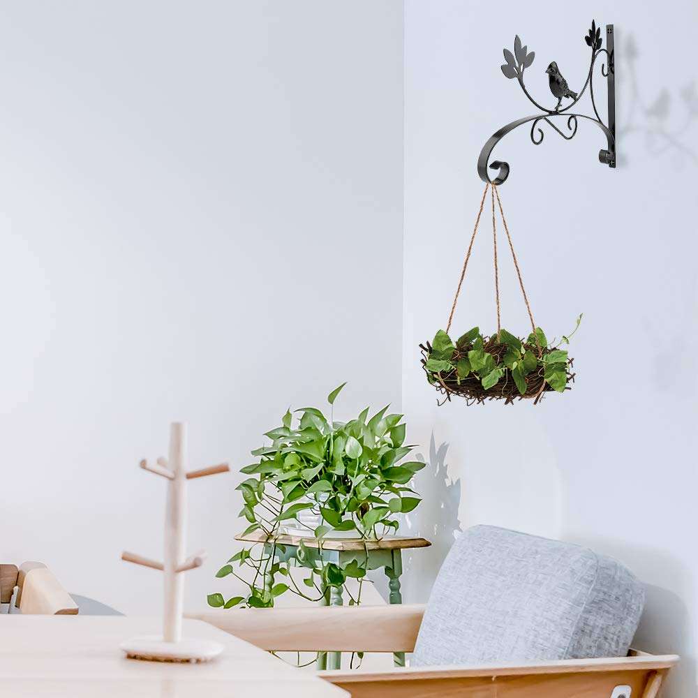 Hanging Flower Basket Bracket Hook Plant Hanger Cast Iron Decorative Flower Pot Lantern Flower Bird Hook ZZM Wall Hanging Bracket