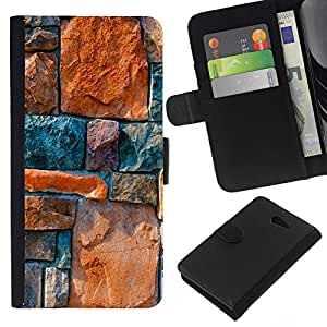 KingStore / Leather Etui en cuir / Sony Xperia M2 / Piedra Architecture Pared Dise?o Rocas colorido
