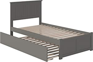 Atlantic Furniture Nantucket Platform Bed with Twin Size Urban Trundle, Twin, Grey