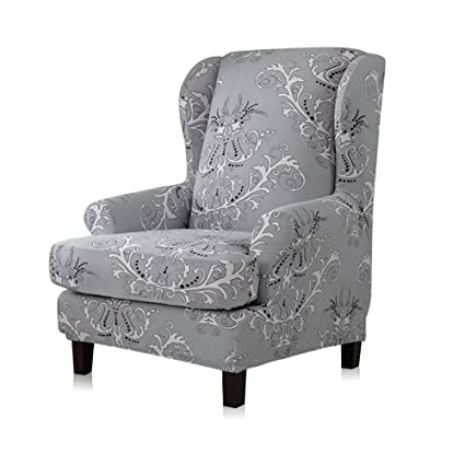 Peachy Tikami Wing Chair Slipcovers 2 Piece Spandex Stretch Sofa Covers With Arms Printing Pattern Fabric Furniture Protector Gray Pattern Lamtechconsult Wood Chair Design Ideas Lamtechconsultcom