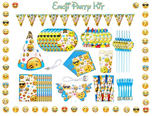 Emoji Birthday Party Supplies and Decorations - 124 Items Pack For 8 Guests - BONUS Gift: 8 Rubber Wristband Bracelets