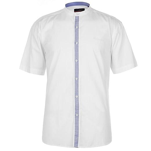 Pierre Cardin Hombre Grandad Camisa Manga Corta Cuello MAO 3Mb4gll1