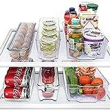 MineDecor 6 Piece Refrigerator Organizer Set Kitchen Food Storage Cabinet Clear Freezer Storage Containers Include Drink Holder Egg Tray For Fruits Vegetables Milk