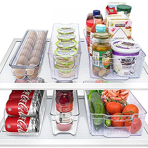 MineDecor 6 Piece Refrigerator Organizer Set Kitchen Food Storage Cabinet Clear Freezer Storage Containers Include Drink Holder Egg Tray For Fruits Vegetables Milk by MineDecor (Image #3)